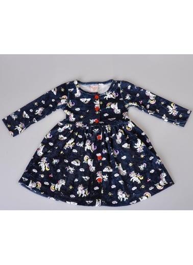 POKY Kız Bebek Boydan Düğmeli Sevimli At Bulut Desenli Elbise-9440 Lacivert